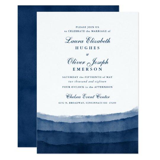 Indigo Blue Watercolor Wedding Invitations Zazzlecom