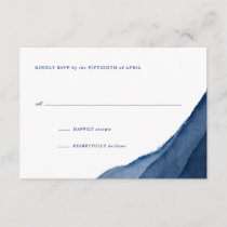 Indigo Blue Watercolor Wedding RSVP