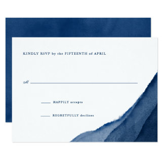 Indigo Blue Watercolor Wedding RSVP Invitation