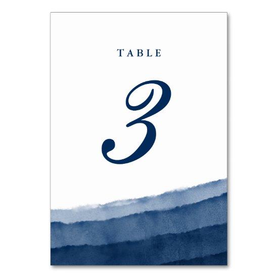 Indigo Blue Watercolor Wedding Table Number