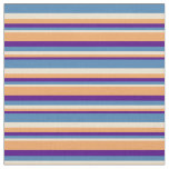 [ Thumbnail: Indigo, Brown, Beige & Blue Stripes Pattern Fabric ]