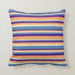 [ Thumbnail: Indigo, Brown, Beige & Blue Stripes Pattern Pillow ]