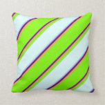 [ Thumbnail: Indigo, Brown, Chartreuse, Light Cyan & Light Blue Throw Pillow ]