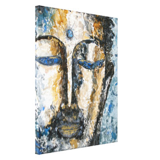 Indigo Buddha Watercolor Wrapped Canvas Print