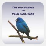 Indigo Bunting Bookplate Square Sticker
