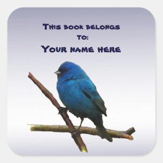 Indigo Bunting Bookplate Stickers