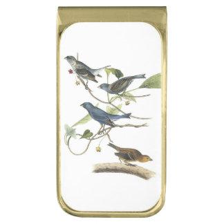 Indigo Bunting by Audubon Gold Finish Money Clip
