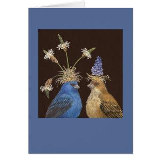 Indigo bunting couple card