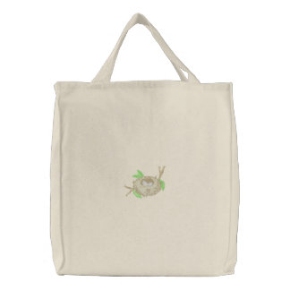 Indigo Bunting Embroidered Tote Bag