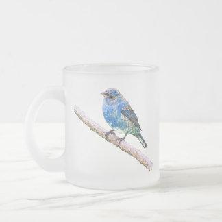 Indigo Bunting Image 10 Oz Frosted Glass Coffee Mug