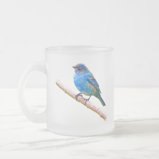 Indigo Bunting Image (version 2) 10 Oz Frosted Glass Coffee Mug