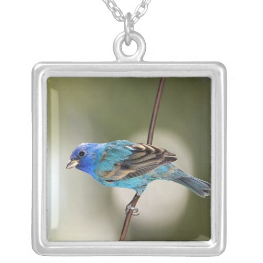 Indigo Bunting perched on bare branch Custom Necklace