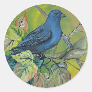 Indigo Bunting Round Sticker