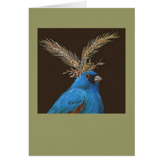 indigo bunting with meadow hat card