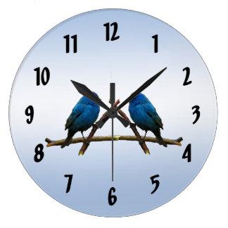 Indigo Buntings Large Clock