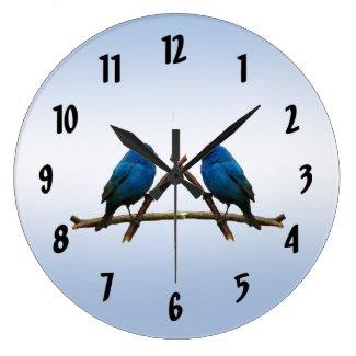 Indigo Buntings Round Clock