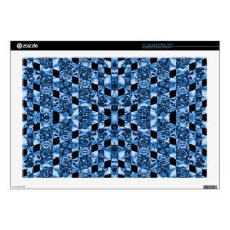 Indigo Check Ornate Skins For Laptops