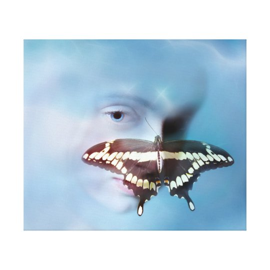 Indigo child and the butterfly canvas print