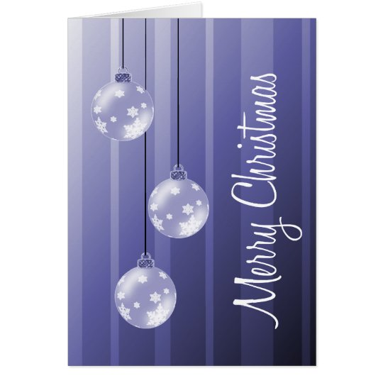Indigo Christmas Balls & Stripes Merry Christmas Card