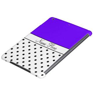 Indigo Custom Name, Black & White Polka Dots iPad Air Cover