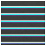 [ Thumbnail: Indigo, Cyan, Light Cyan & Black Colored Stripes Fabric ]