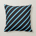 [ Thumbnail: Indigo, Cyan, Light Cyan & Black Colored Stripes Throw Pillow ]