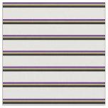 [ Thumbnail: Indigo, Dark Khaki, Black & Mint Cream Stripes Fabric ]