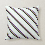 [ Thumbnail: Indigo, Dark Khaki, Black & Mint Cream Stripes Throw Pillow ]