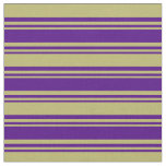 [ Thumbnail: Indigo & Dark Khaki Colored Stripes/Lines Pattern Fabric ]