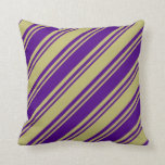 [ Thumbnail: Indigo & Dark Khaki Colored Stripes/Lines Pattern Throw Pillow ]
