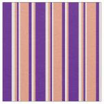 [ Thumbnail: Indigo, Dark Salmon & Beige Lined/Striped Pattern Fabric ]