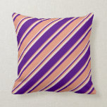 [ Thumbnail: Indigo, Dark Salmon & Beige Lined/Striped Pattern Throw Pillow ]