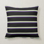 [ Thumbnail: Indigo, Dark Sea Green, Light Yellow & Black Throw Pillow ]