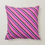 [ Thumbnail: Indigo, Dark Violet, Beige, Black, and Hot Pink Throw Pillow ]