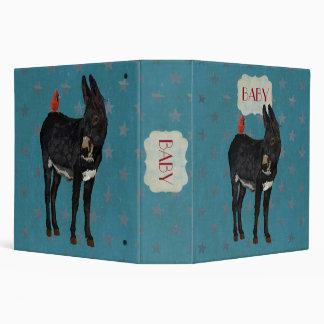 INDIGO DONKEY & CARDINAL BABY Book 3 Ring Binder