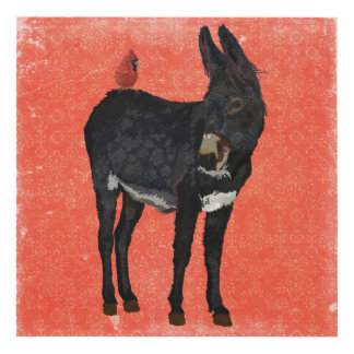 INDIGO DONKEY & CARDINAL PANEL WALL ART