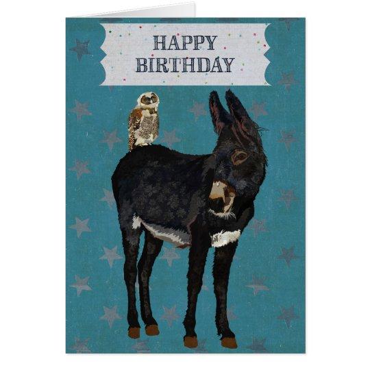 INDIGO DONKEY OWL Birthday Card – Donkey Birthday Card
