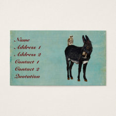 Indigo Donkey & Owl Business Card at Zazzle