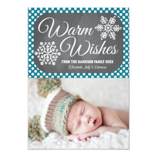 Indigo Dot Chalkboard Snowflake Holiday Photo Card