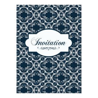 Indigo Engravers Nautical Quadrafoil Floral Card