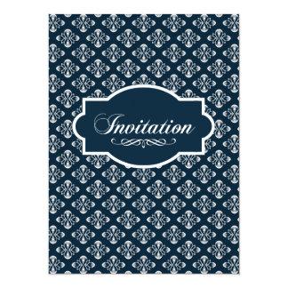 Indigo Engravers Small Damask Pattern Card