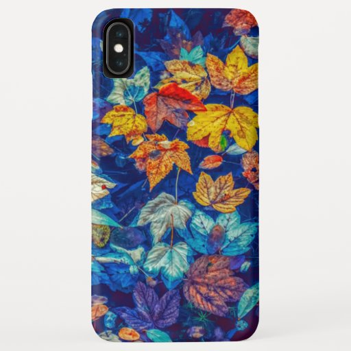 Indigo fall leaves swirl pattern iPhone XS max case