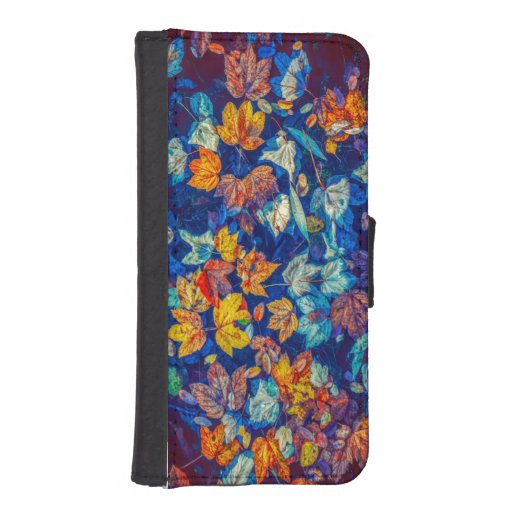 Indigo fall leaves swirl pattern iPhone SE/5/5s wallet