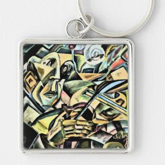 indigo Fiddler Silver-Colored Square Keychain