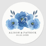 Indigo Flowers | Wedding Classic Round Sticker