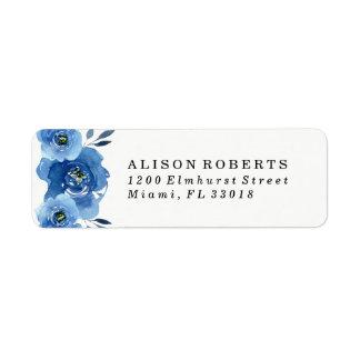 Indigo Flowers | Wedding Return Address Labels
