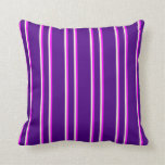 [ Thumbnail: Indigo, Fuchsia, and Beige Colored Pattern Pillow ]