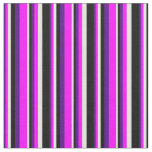 [ Thumbnail: Indigo, Fuchsia, Light Yellow & Black Stripes Fabric ]