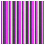 [ Thumbnail: Indigo, Fuchsia, Light Yellow & Black Stripes Fabric ]