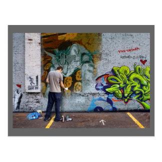 Indigo Graffiti Wall Postcard